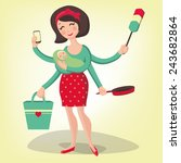 illustration of housewife in... | Shutterstock . vector #243682864