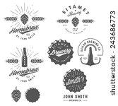 vintage craft beer brewery... | Shutterstock .eps vector #243686773