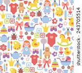 seamless pattern with baby icons | Shutterstock .eps vector #243705514