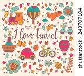 i love travel concept card in... | Shutterstock .eps vector #243707104