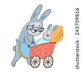 grandma bunny lucky little... | Shutterstock .eps vector #243709816