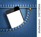 mobile phone in pocket jeans ...   Shutterstock .eps vector #243718066