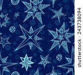 seamless blue fantasy hand... | Shutterstock . vector #243738094
