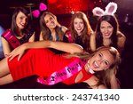 pretty friends on a hen night... | Shutterstock . vector #243741340