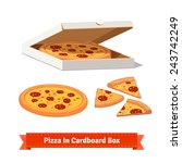 pizza in the opened cardboard... | Shutterstock .eps vector #243742249