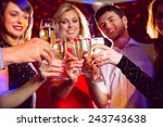 happy friends on a night out... | Shutterstock . vector #243743638