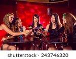 pretty friends drinking... | Shutterstock . vector #243746320