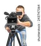 video camera operator filmed.... | Shutterstock . vector #243747364