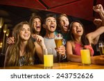 happy friends drinking beer and ... | Shutterstock . vector #243752626
