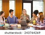 smiling students and teacher in ...   Shutterstock . vector #243764269