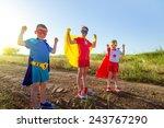children acting like a superhero | Shutterstock . vector #243767290