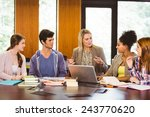 smiling female with students... | Shutterstock . vector #243770620