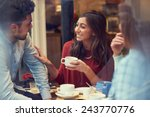 group of friends in caf      ... | Shutterstock . vector #243770776
