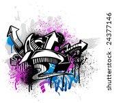 black graffiti sketch with blue ... | Shutterstock .eps vector #24377146