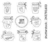 The Set Of Hand Drawn Jars With ...