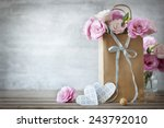 Stock photo valentines day background with pink roses bow and paper hearts 243792010