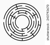 Black Round Maze On A White...