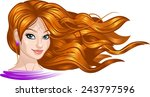 beautiful girl with long hair.... | Shutterstock .eps vector #243797596