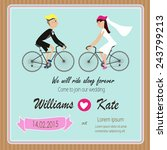 bicycle lover couples wedding... | Shutterstock .eps vector #243799213