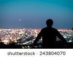Silhouette Of Man Looking Abov...