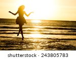 Silhouette Of Young Happy Woman ...