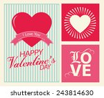 happy valentines day cards with ... | Shutterstock .eps vector #243814630