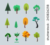 set of different trees cartoons.... | Shutterstock .eps vector #243826258
