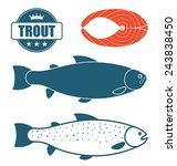 trout logo. isolated trout on... | Shutterstock .eps vector #243838450