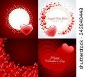 set of happy valentines day... | Shutterstock .eps vector #243840448