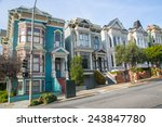 Row Of Victorian Houses In San...