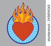 burning flaming heart   vector... | Shutterstock .eps vector #243854263