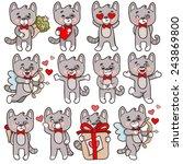 set of vector cartoon... | Shutterstock .eps vector #243869800