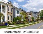 long street of new luxury homes | Shutterstock . vector #243888310