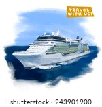 cruise ship hand drawn vector... | Shutterstock .eps vector #243901900