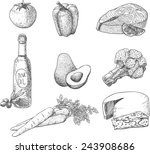healthy food elements in sketch ... | Shutterstock .eps vector #243908686
