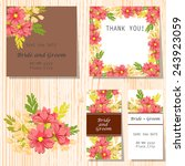 set of invitations with floral... | Shutterstock .eps vector #243923059