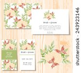 set of invitations with floral... | Shutterstock .eps vector #243923146
