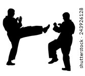 black silhouettes of karate.... | Shutterstock . vector #243926128