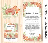 set of invitations with floral... | Shutterstock .eps vector #243932878