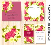 set of invitations with floral... | Shutterstock .eps vector #243932968