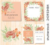 set of invitations with floral... | Shutterstock .eps vector #243933484