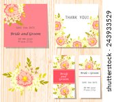 set of invitations with floral... | Shutterstock .eps vector #243933529