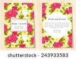 set of invitations with floral... | Shutterstock . vector #243933583