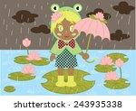 cute frog hood girl vector | Shutterstock .eps vector #243935338