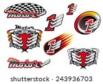 racing and motocross emblems or ... | Shutterstock .eps vector #243936703