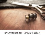 old sewing machine bobbins with ... | Shutterstock . vector #243941014