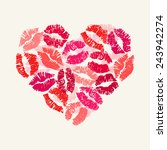heart with lipsticks prints.... | Shutterstock .eps vector #243942274