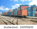 cargo train platform with... | Shutterstock . vector #243950650