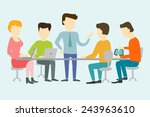 people working at the desk... | Shutterstock .eps vector #243963610