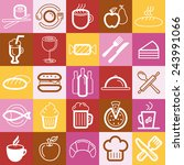 vector set of food and cafe... | Shutterstock .eps vector #243991066